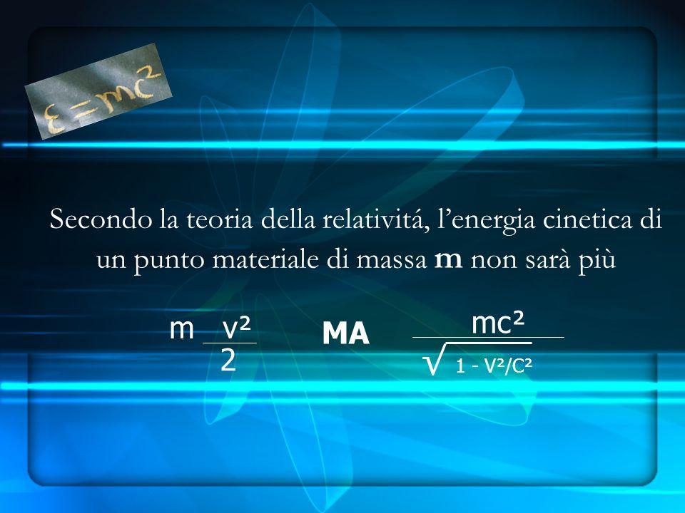 Secondo la teoria della relativitá, lenergia cinetica di un punto materiale di massa m non sarà più 2 m v² MA mc² 1 - V²/C²