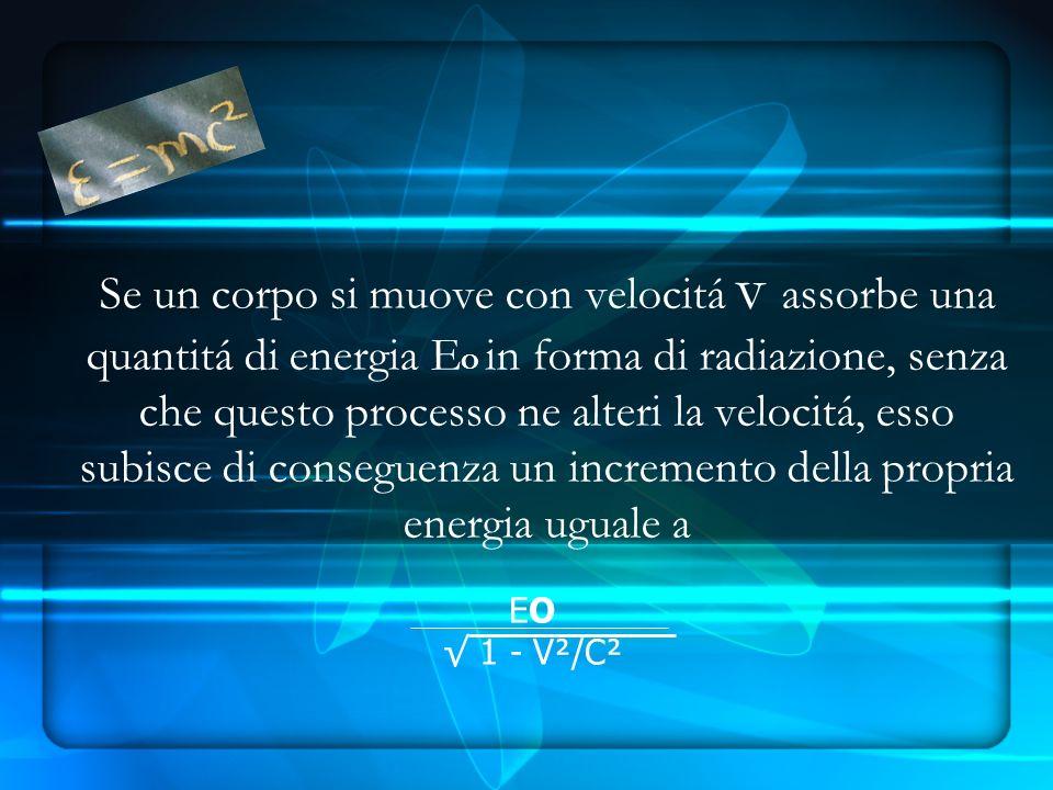 Se un corpo si muove con velocitá v assorbe una quantitá di energia E O in forma di radiazione, senza che questo processo ne alteri la velocitá, esso subisce di conseguenza un incremento della propria energia uguale a EO 1 - V²/C²