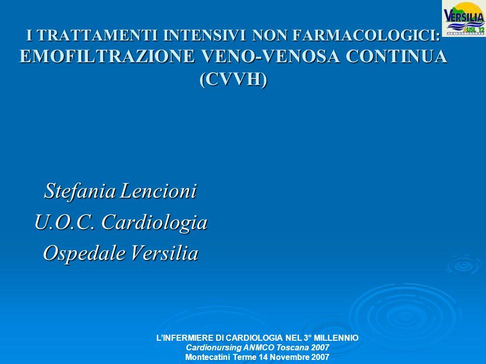 LINFERMIERE DI CARDIOLOGIA NEL 3° MILLENNIO Cardionursing ANMCO Toscana 2007 Montecatini Terme 14 Novembre 2007 I TRATTAMENTI INTENSIVI NON FARMACOLOG