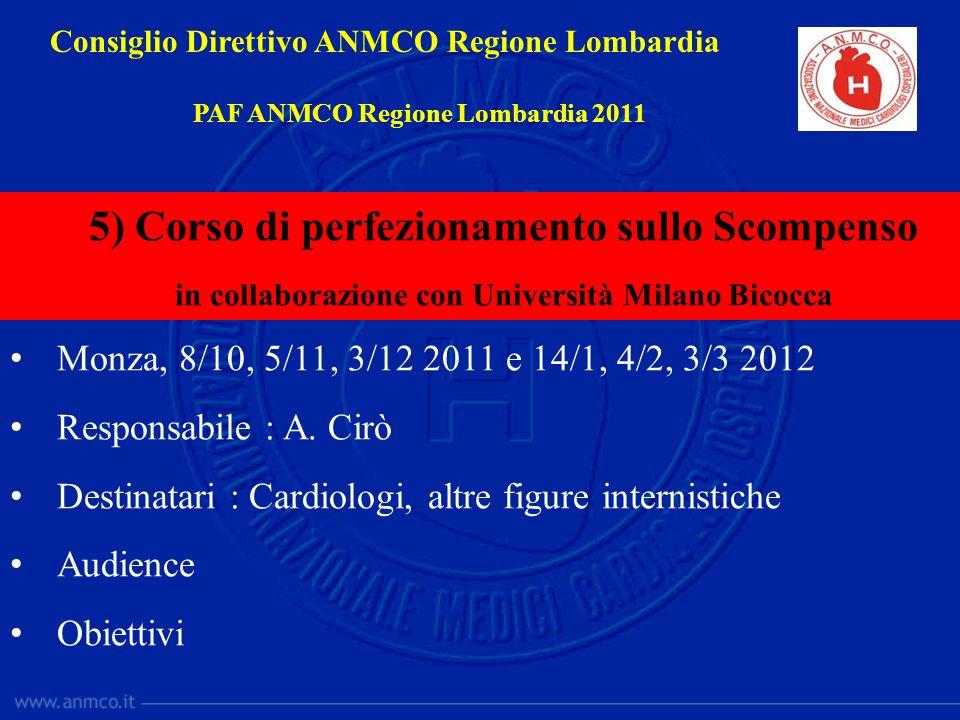 Monza, 8/10, 5/11, 3/12 2011 e 14/1, 4/2, 3/3 2012 Responsabile : A. Cirò Destinatari : Cardiologi, altre figure internistiche Audience Obiettivi Cons