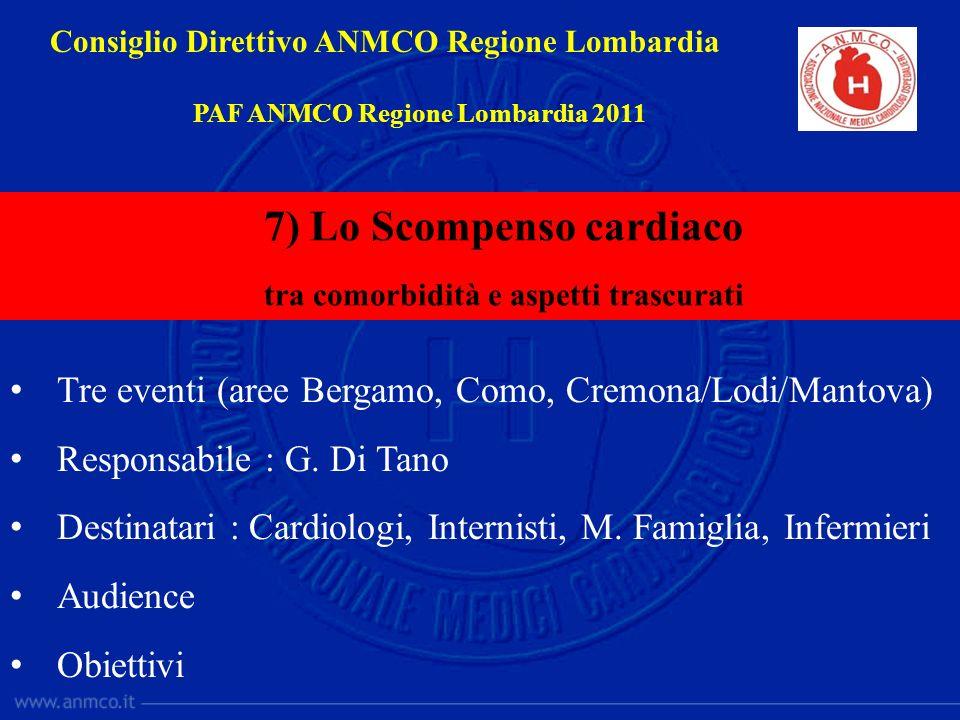Tre eventi (aree Bergamo, Como, Cremona/Lodi/Mantova) Responsabile : G. Di Tano Destinatari : Cardiologi, Internisti, M. Famiglia, Infermieri Audience