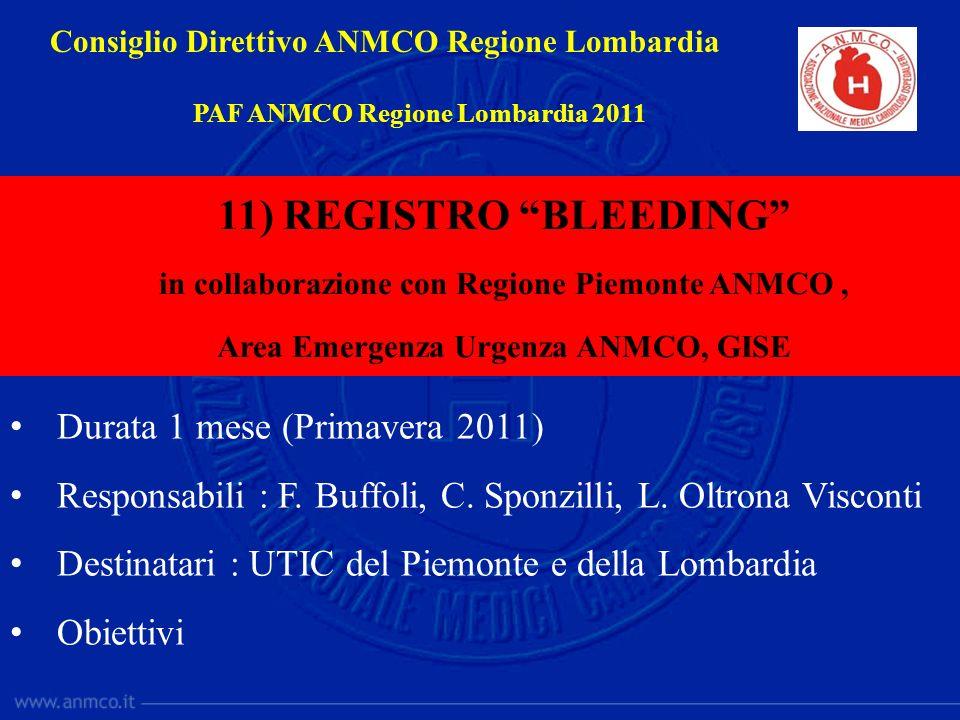 Durata 1 mese (Primavera 2011) Responsabili : F. Buffoli, C. Sponzilli, L. Oltrona Visconti Destinatari : UTIC del Piemonte e della Lombardia Obiettiv