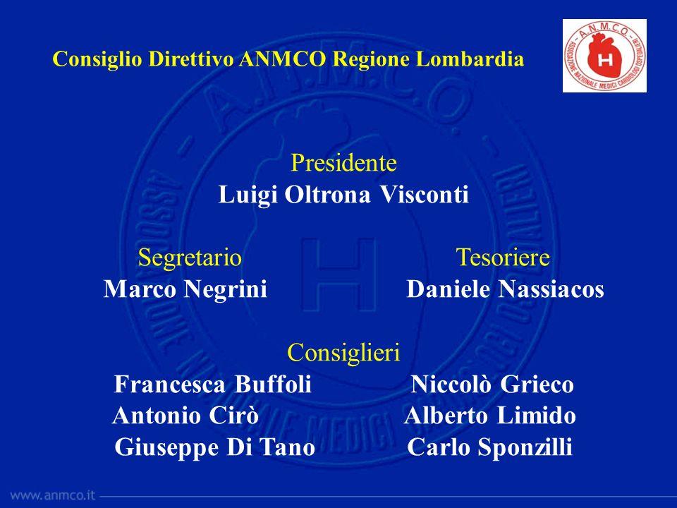 Consiglio Direttivo ANMCO Regione Lombardia Presidente Luigi Oltrona Visconti Segretario Tesoriere Marco Negrini Daniele Nassiacos Consiglieri Frances