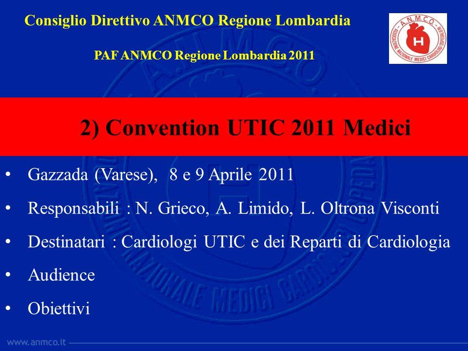 Gazzada (Varese), 8 e 9 Aprile 2011 Responsabili : N. Grieco, A. Limido, L. Oltrona Visconti Destinatari : Cardiologi UTIC e dei Reparti di Cardiologi