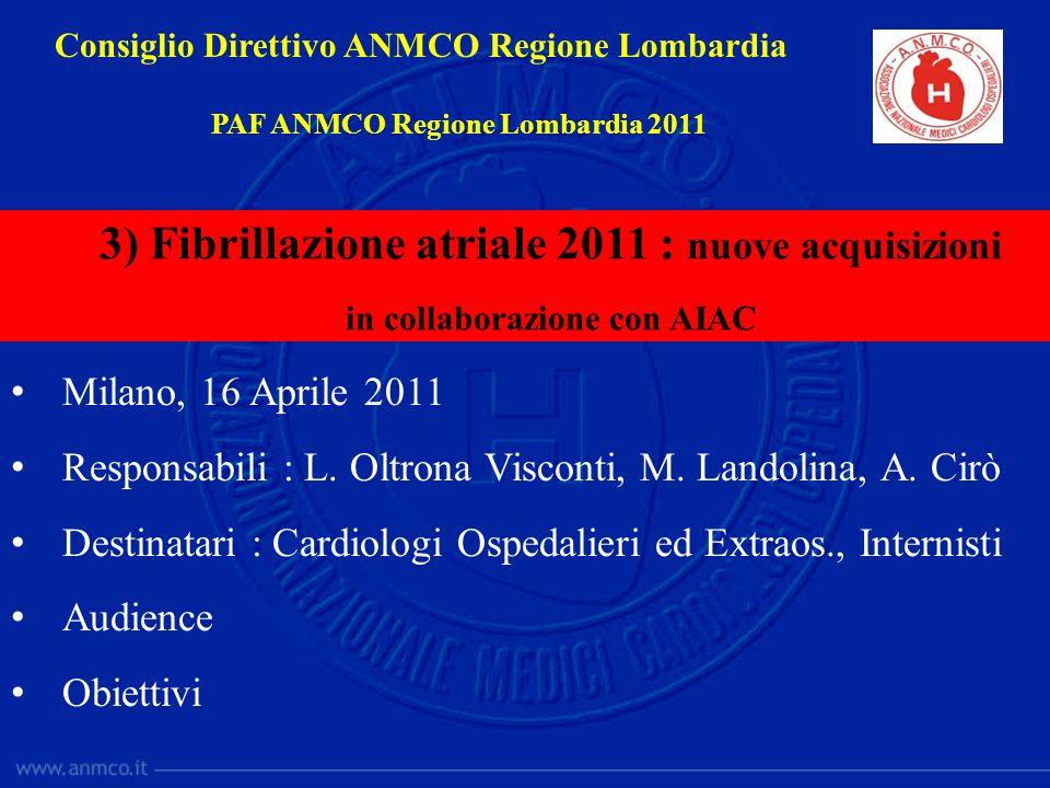 Milano, 16 Aprile 2011 Responsabili : L. Oltrona Visconti, M. Landolina, A. Cirò Destinatari : Cardiologi Ospedalieri ed Extraos., Internisti Audience