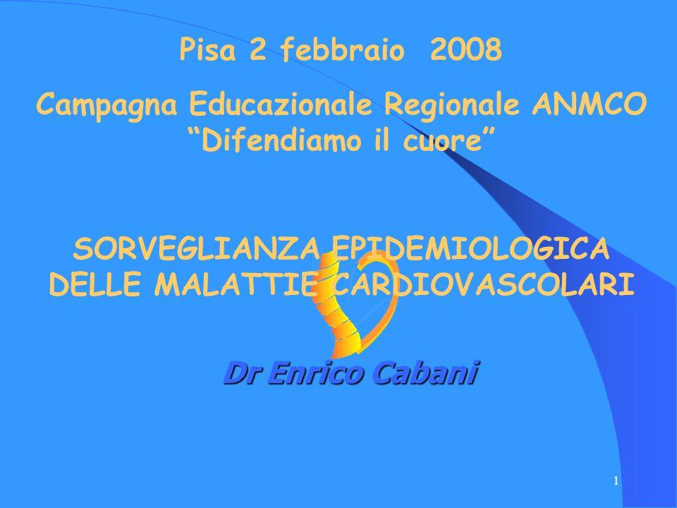 1 Dr Enrico Cabani Pisa 2 febbraio 2008 Campagna Educazionale Regionale ANMCO Difendiamo il cuore SORVEGLIANZA EPIDEMIOLOGICA DELLE MALATTIE CARDIOVAS