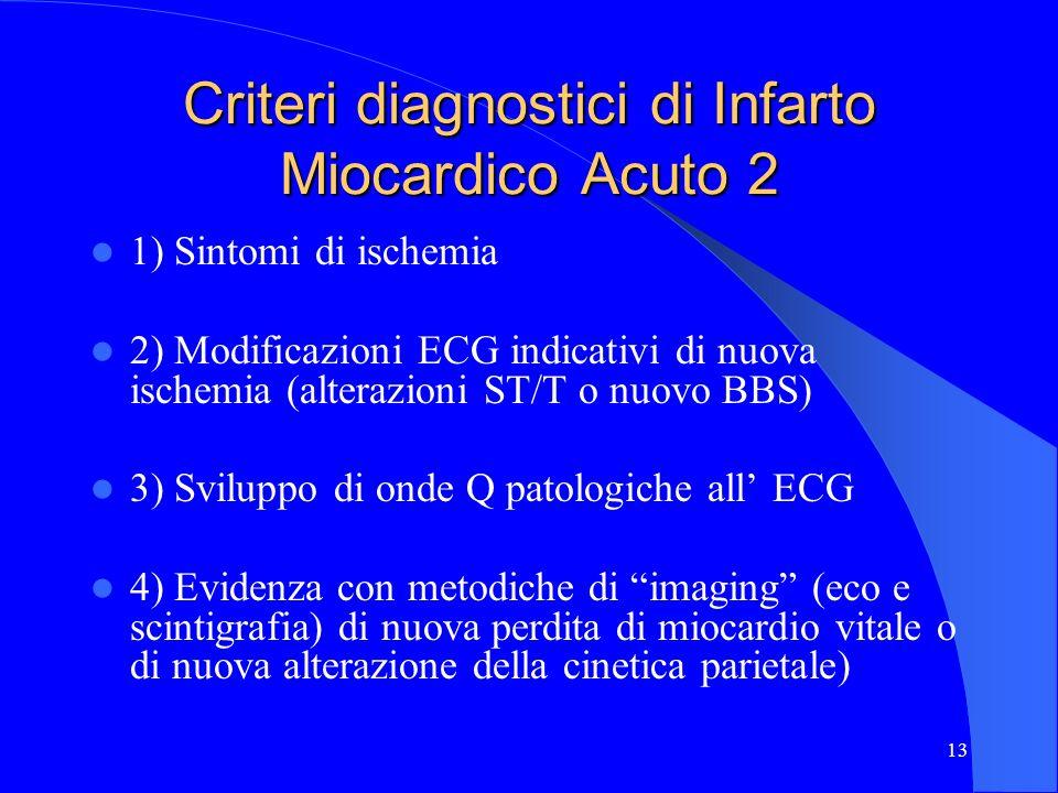 13 Criteri diagnostici di Infarto Miocardico Acuto 2 1) Sintomi di ischemia 2) Modificazioni ECG indicativi di nuova ischemia (alterazioni ST/T o nuov