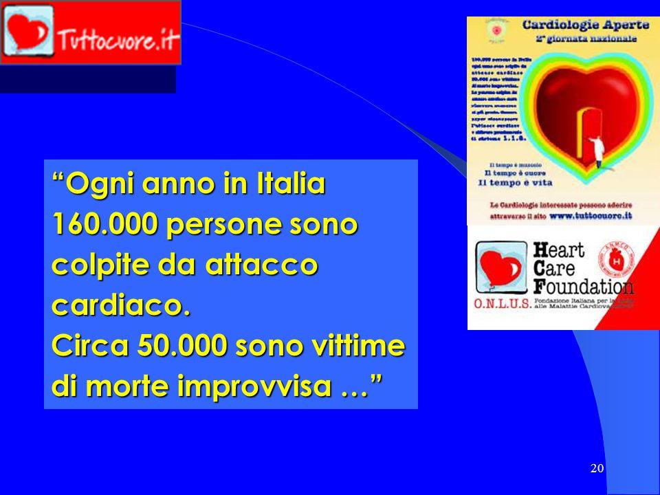 20 Ogni anno in Italia 160.000 persone sono colpite da attacco cardiaco. Circa 50.000 sono vittime di morte improvvisa …
