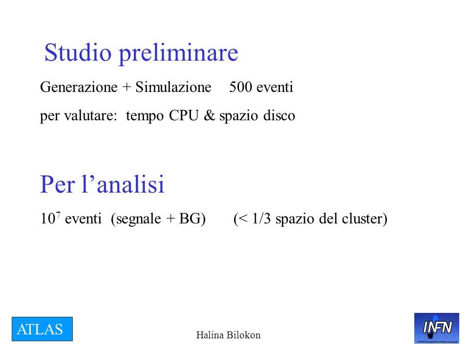 Halina Bilokon ATLAS Studio preliminare Generazione + Simulazione 500 eventi per valutare: tempo CPU & spazio disco Per lanalisi 10 7 eventi (segnale + BG) (< 1/3 spazio del cluster)