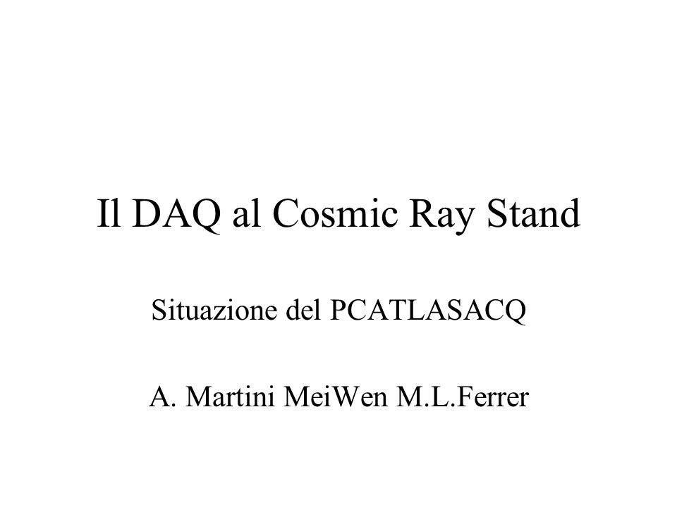 Il DAQ al Cosmic Ray Stand Situazione del PCATLASACQ A. Martini MeiWen M.L.Ferrer