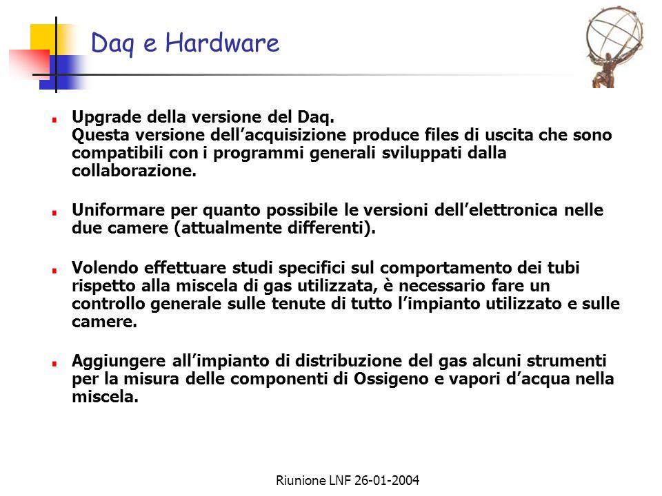 Riunione LNF 26-01-2004 Daq e Hardware Upgrade della versione del Daq. Questa versione dellacquisizione produce files di uscita che sono compatibili c