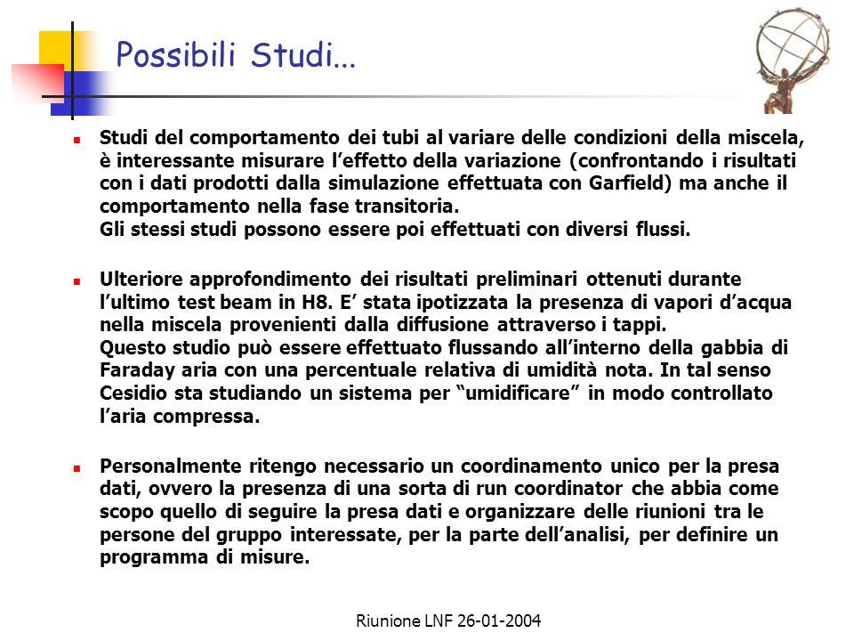 Riunione LNF 26-01-2004 Possibili Studi... Studi del comportamento dei tubi al variare delle condizioni della miscela, è interessante misurare leffett