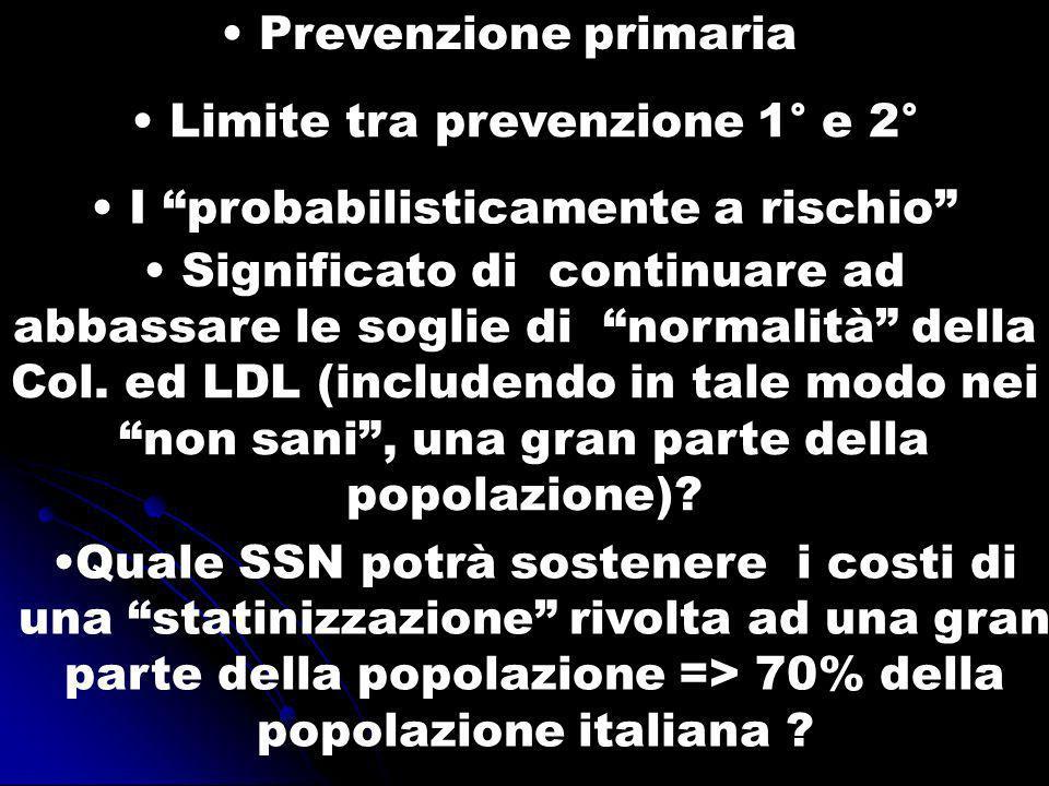 Prevenzione primaria Limite tra prevenzione 1° e 2° I probabilisticamente a rischio Significato di continuare ad abbassare le soglie di normalità dell