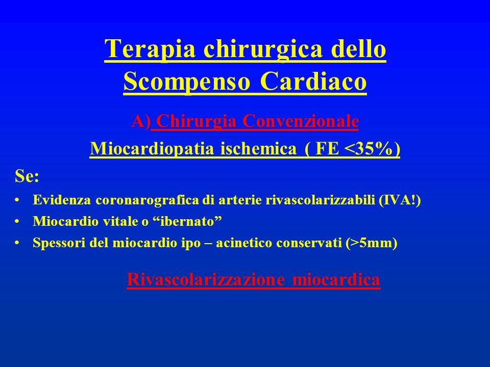Terapia chirurgica dello Scompenso Cardiaco A) Chirurgia Convenzionale Miocardiopatia ischemica ( FE <35%) Se: Evidenza coronarografica di arterie riv