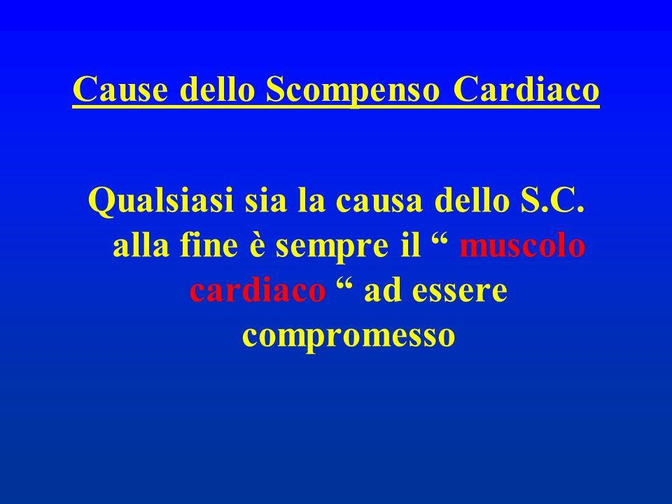 Cause dello Scompenso Cardiaco Qualsiasi sia la causa dello S.C. alla fine è sempre il muscolo cardiaco ad essere compromesso