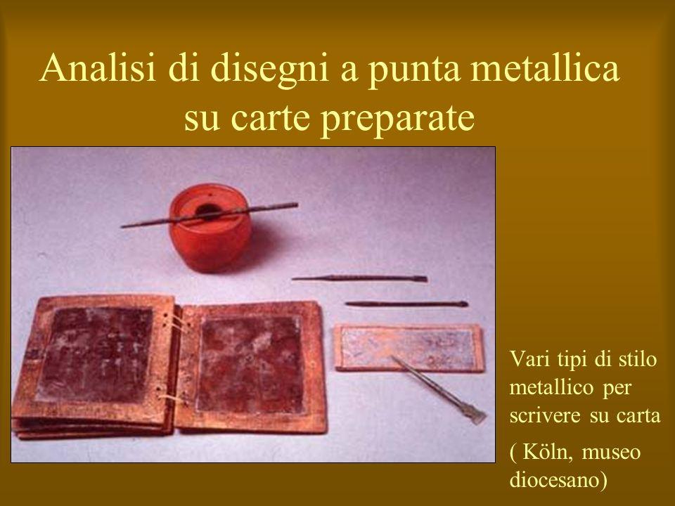 Analisi di disegni a punta metallica su carte preparate Vari tipi di stilo metallico per scrivere su carta ( Köln, museo diocesano)