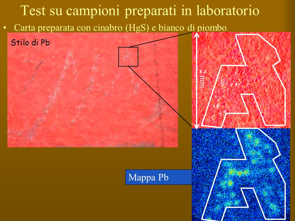 Test su campioni preparati in laboratorio Carta preparata con cinabro (HgS) e bianco di piombo Mappa Pb Stilo di Pb 2 mm