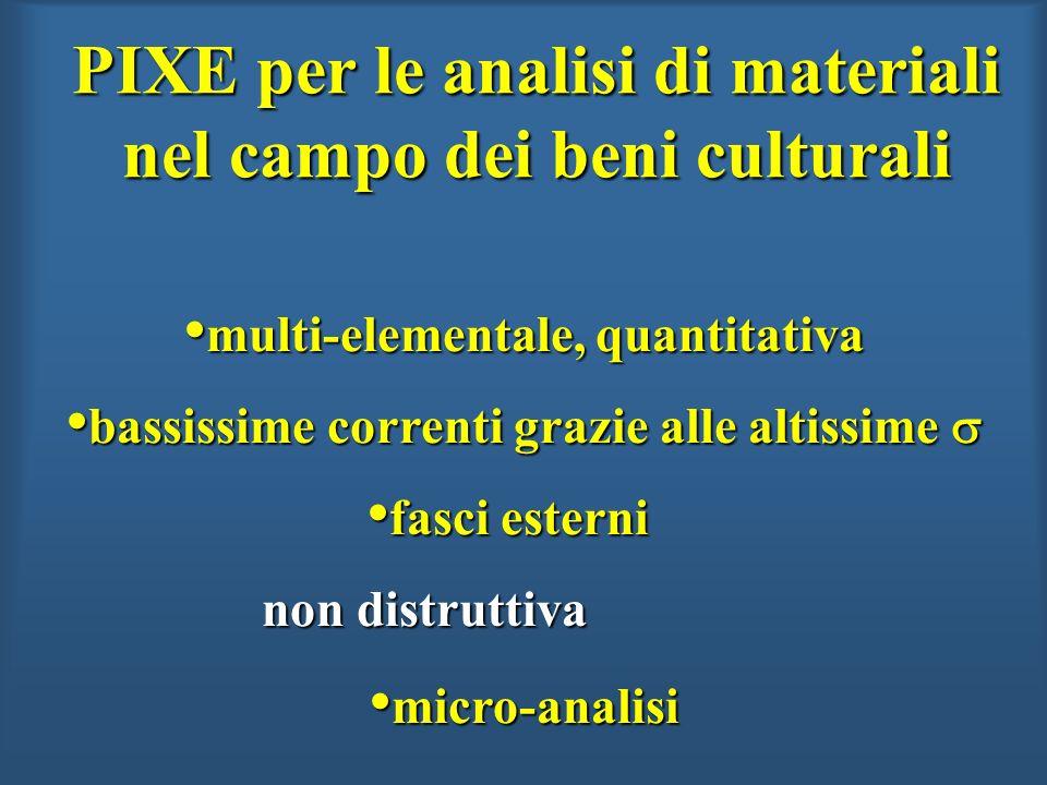 PIXE per le analisi di materiali nel campo dei beni culturali multi-elementale, quantitativa multi-elementale, quantitativa bassissime correnti grazie