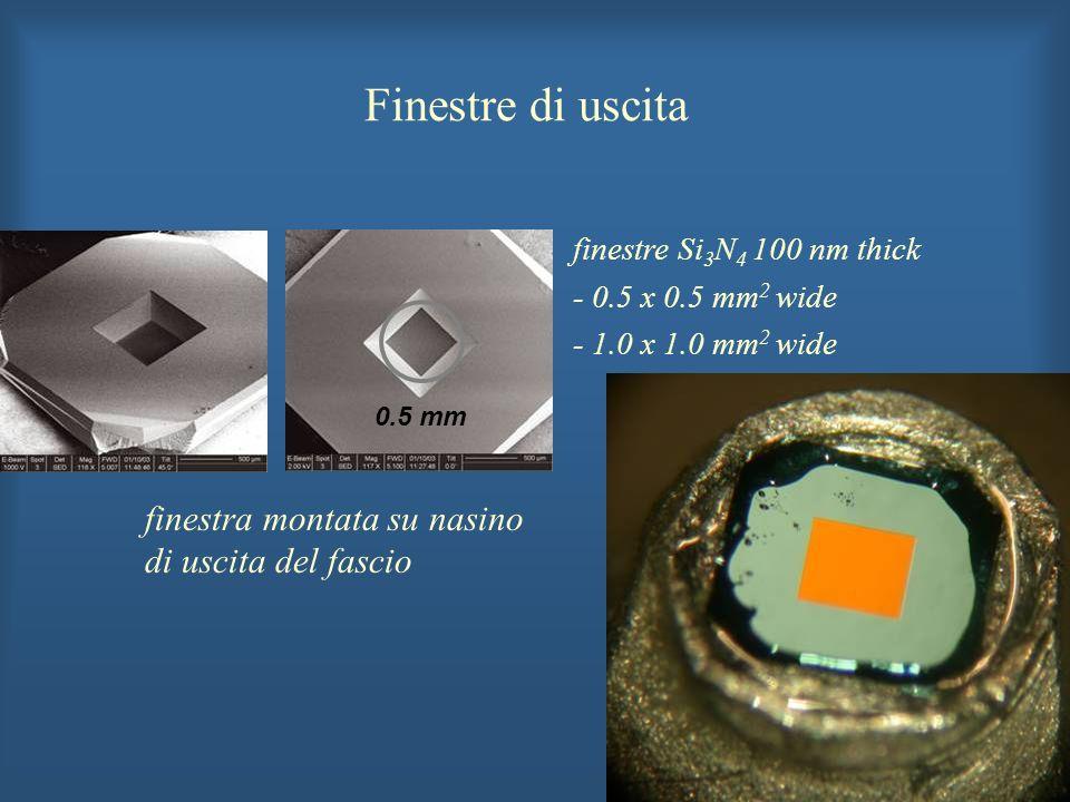 finestre Si 3 N 4 100 nm thick - 0.5 x 0.5 mm 2 wide - 1.0 x 1.0 mm 2 wide finestra montata su nasino di uscita del fascio 0.5 mm Finestre di uscita