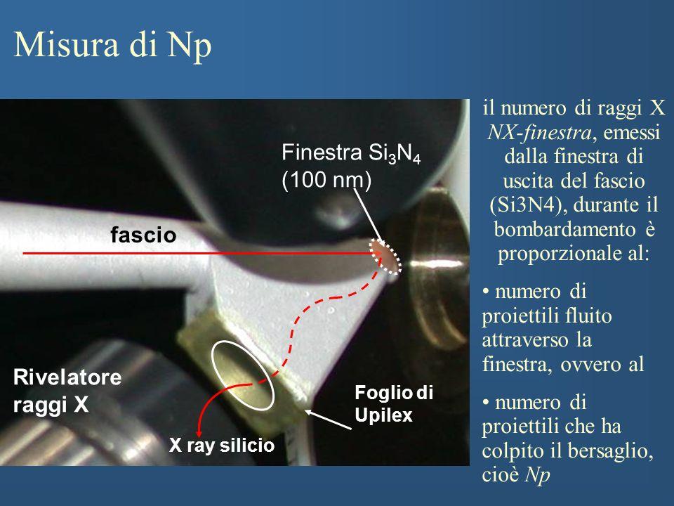 Misura di Np il numero di raggi X NX-finestra, emessi dalla finestra di uscita del fascio (Si3N4), durante il bombardamento è proporzionale al: numero di proiettili fluito attraverso la finestra, ovvero al numero di proiettili che ha colpito il bersaglio, cioè Np fascio Rivelatore raggi X X ray silicio Foglio di Upilex Finestra Si 3 N 4 (100 nm)