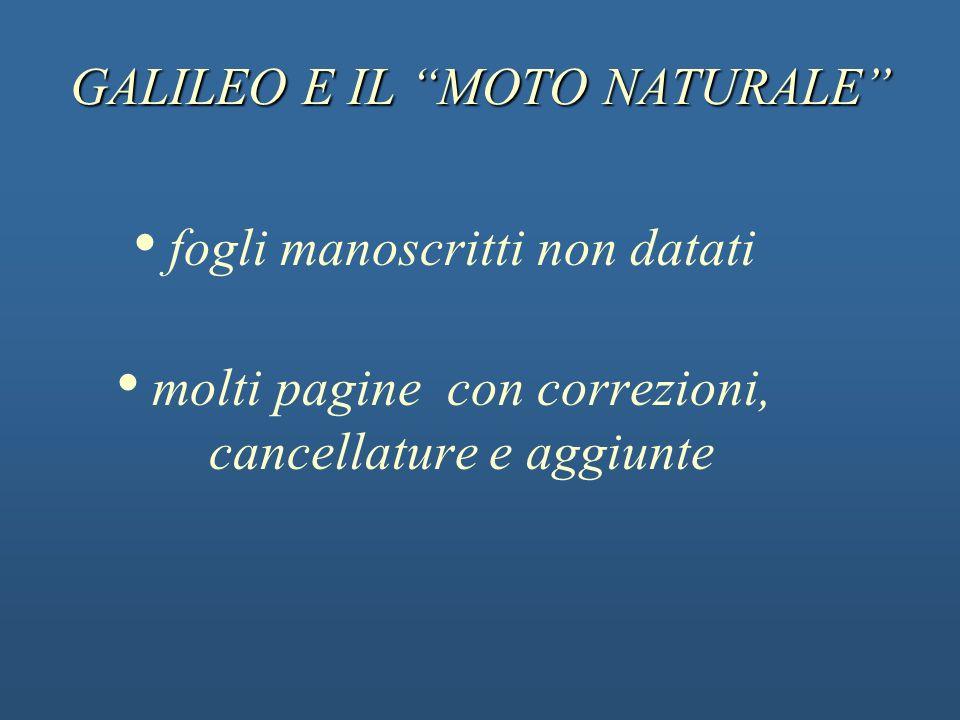 GALILEO E IL MOTO NATURALE fogli manoscritti non datati molti pagine con correzioni, cancellature e aggiunte