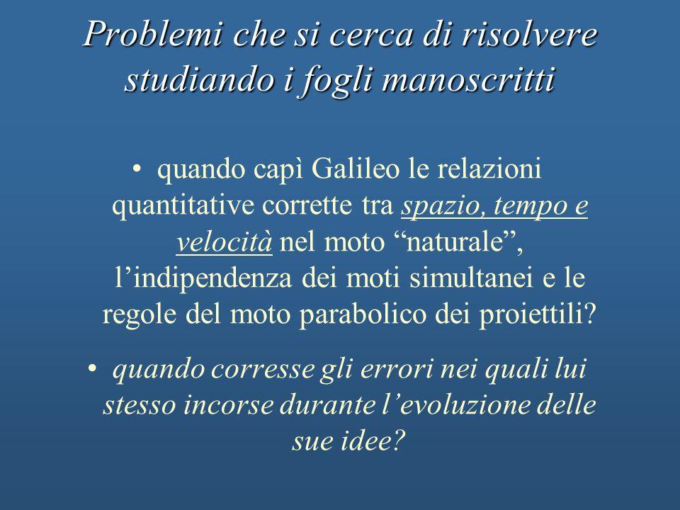 Problemi che si cerca di risolvere studiando i fogli manoscritti quando capì Galileo le relazioni quantitative corrette tra spazio, tempo e velocità n