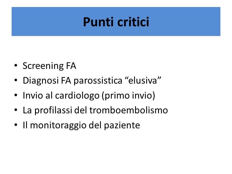 Punti critici Screening FA Diagnosi FA parossistica elusiva Invio al cardiologo (primo invio) La profilassi del tromboembolismo Il monitoraggio del paziente