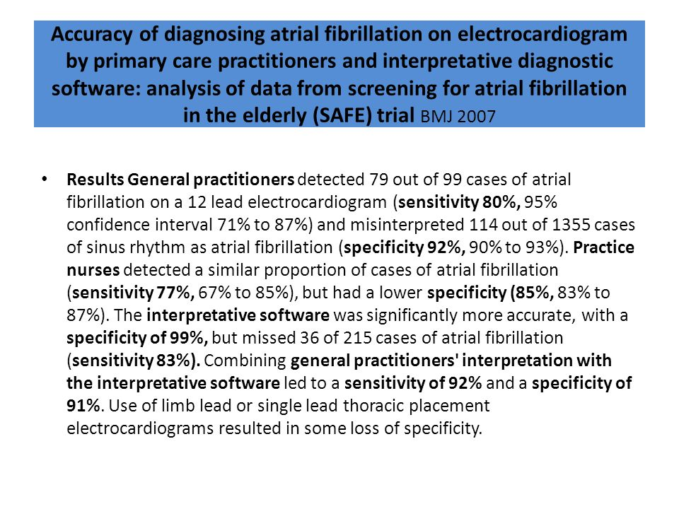 Accuracy of diagnosing atrial fibrillation on electrocardiogram by primary care practitioners and interpretative diagnostic software: analysis of data