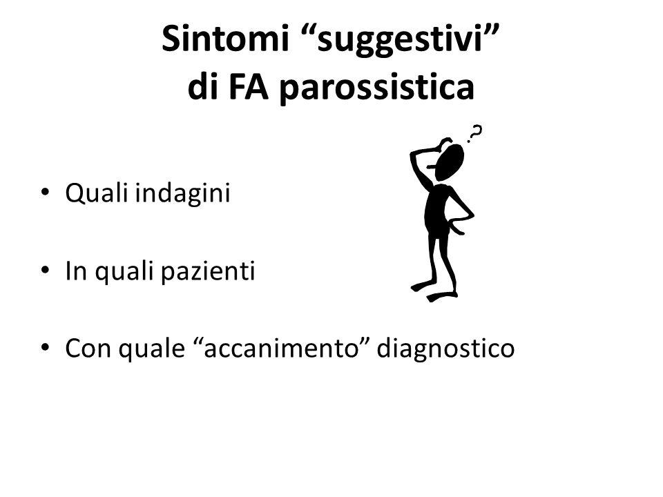 Sintomi suggestivi di FA parossistica Quali indagini In quali pazienti Con quale accanimento diagnostico