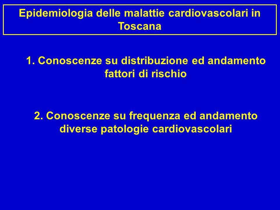 Epidemiologia delle malattie cardiovascolari in Toscana 1. Conoscenze su distribuzione ed andamento fattori di rischio 2. Conoscenze su frequenza ed a