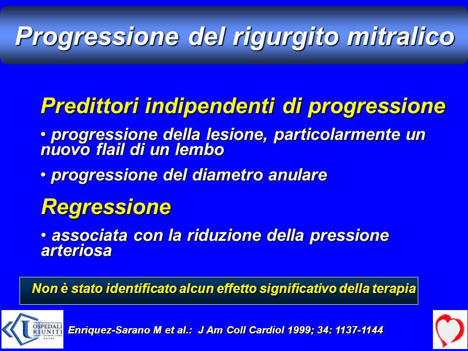 Progressione del rigurgito mitralico Predittori indipendenti di progressione progressione della lesione, particolarmente un nuovo flail di un lembo pr