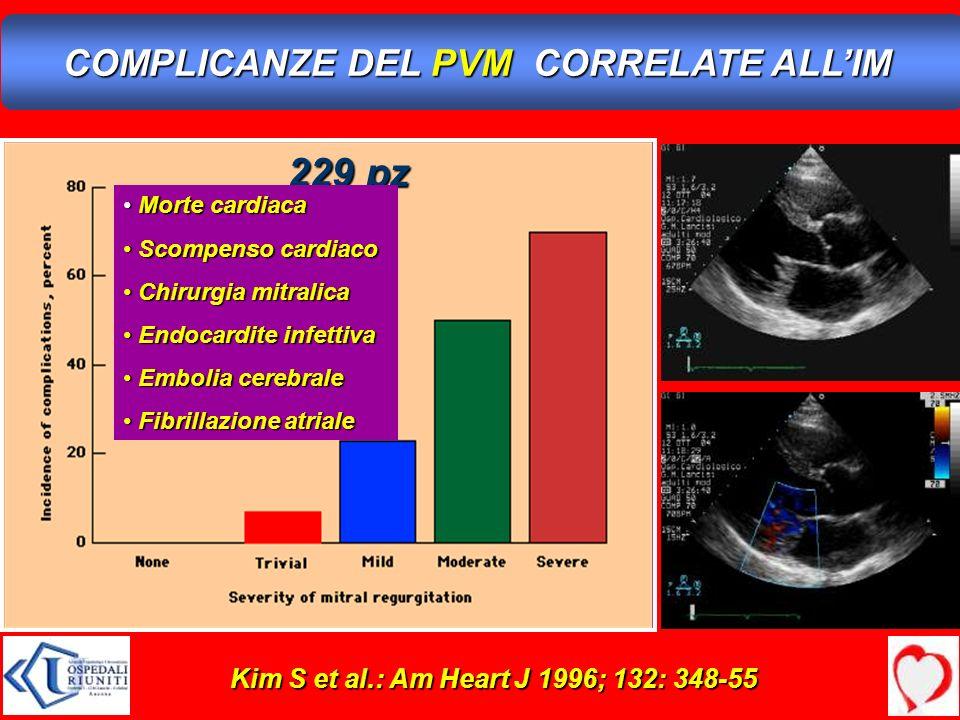 Kim S et al.: Am Heart J 1996; 132: 348-55 COMPLICANZE DEL PVM CORRELATE ALLIM 229 pz Morte cardiaca Morte cardiaca Scompenso cardiaco Scompenso cardi