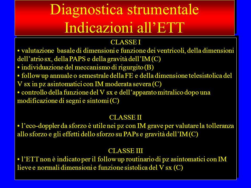 CLASSE I valutazione basale di dimensioni e funzione dei ventricoli, della dimensioni dellatrio sx, della PAPS e della gravità dellIM (C) individuazio