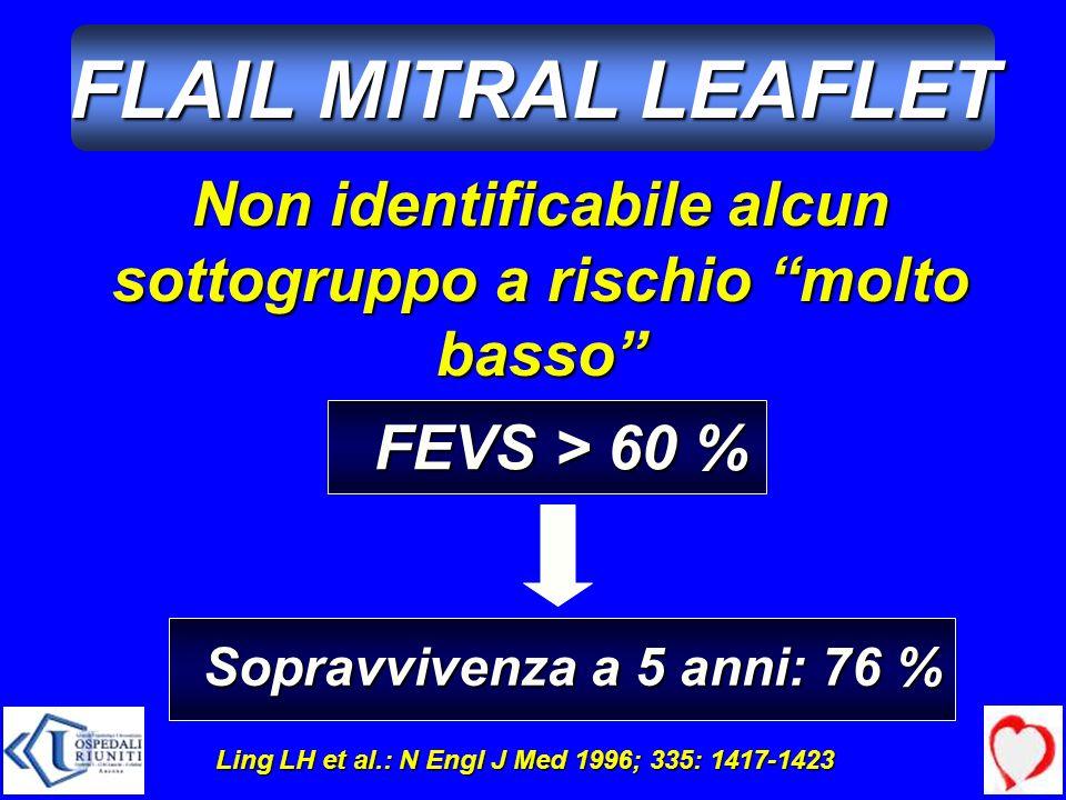 Non identificabile alcun sottogruppo a rischio molto basso Ling LH et al.: N Engl J Med 1996; 335: 1417-1423 FEVS > 60 % Sopravvivenza a 5 anni: 76 %