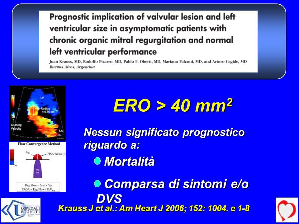 Nessun significato prognostico riguardo a: Mortalità Mortalità Comparsa di sintomi e/o DVS Comparsa di sintomi e/o DVS Krauss J et al.: Am Heart J 200