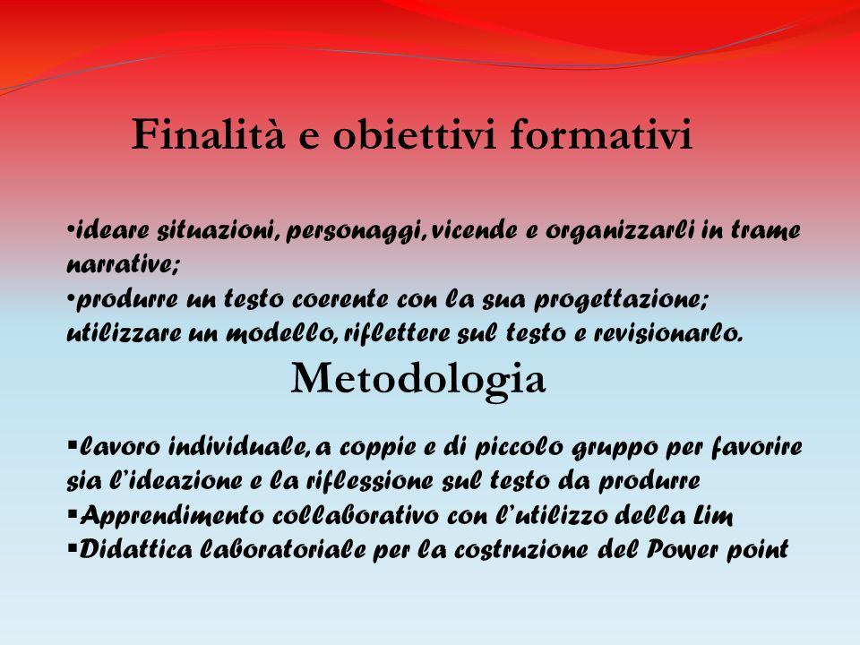 Finalità e obiettivi formativi ideare situazioni, personaggi, vicende e organizzarli in trame narrative; produrre un testo coerente con la sua progett