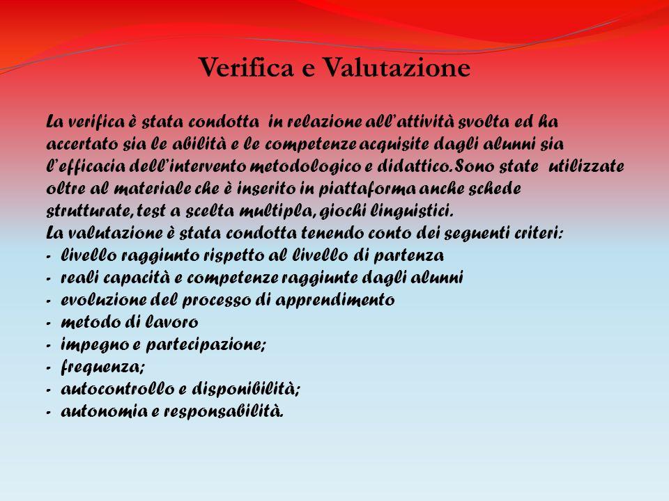 Verifica e Valutazione La verifica è stata condotta in relazione allattività svolta ed ha accertato sia le abilità e le competenze acquisite dagli alu