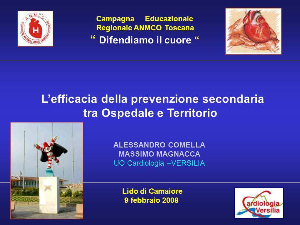 Campagna Educazionale Regionale ANMCO Toscana Difendiamo il cuore Lefficacia della prevenzione secondaria tra Ospedale e Territorio Lido di Camaiore 9 febbraio 2008 ALESSANDRO COMELLA MASSIMO MAGNACCA UO Cardiologia –VERSILIA