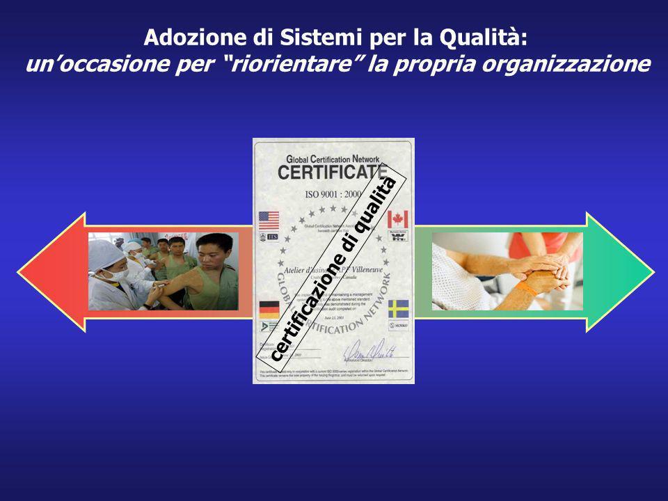 I certificazione di qualità Adozione di Sistemi per la Qualità: unoccasione per riorientare la propria organizzazione