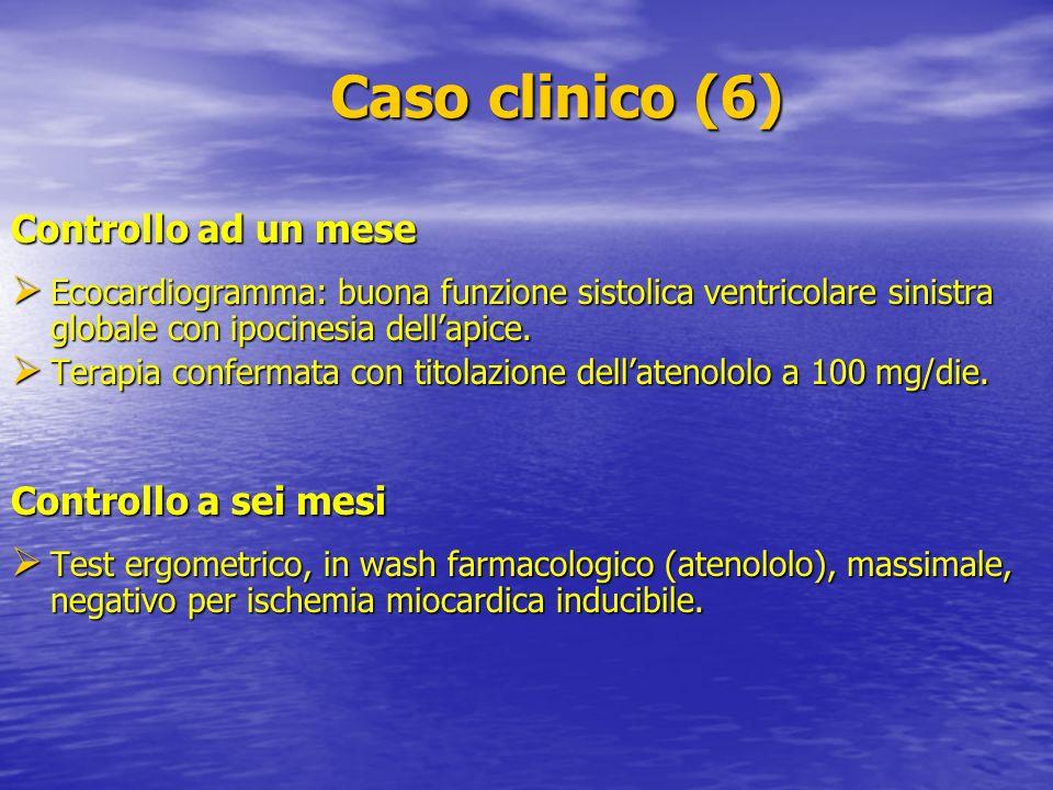 Caso clinico (6) Caso clinico (6) Controllo ad un mese Ecocardiogramma: buona funzione sistolica ventricolare sinistra globale con ipocinesia dellapic