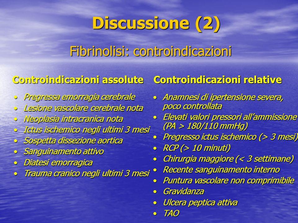 Discussione (2) Discussione (2) Controindicazioni assolute Fibrinolisi: controindicazioni Controindicazioni relative Pregressa emorragia cerebralePreg