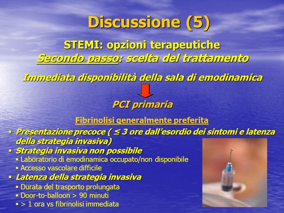 STEMI: opzioni terapeutiche Secondo passo: scelta del trattamento Discussione (5) Discussione (5) Immediata disponibilità della sala di emodinamica PC