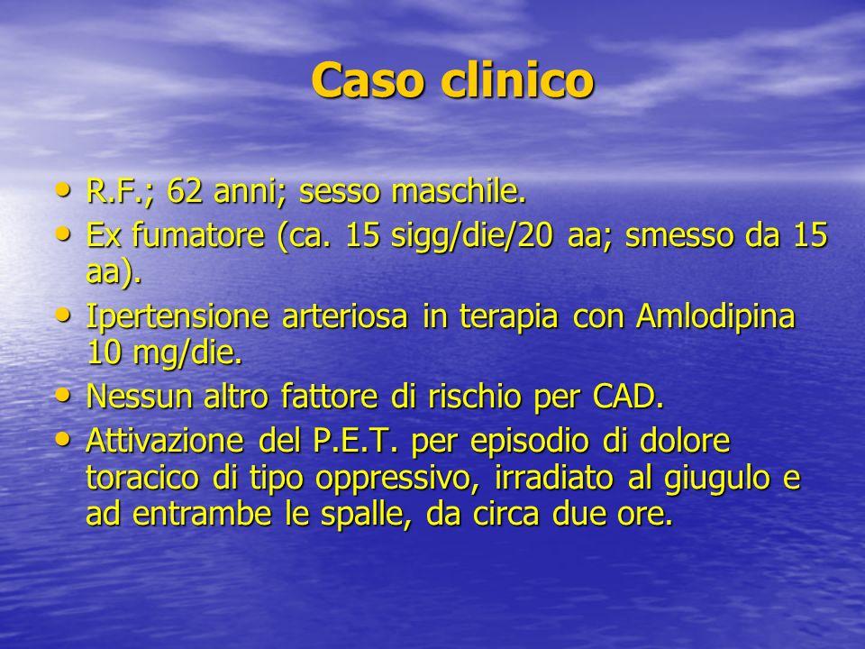 Caso clinico Caso clinico R.F.; 62 anni; sesso maschile. R.F.; 62 anni; sesso maschile. Ex fumatore (ca. 15 sigg/die/20 aa; smesso da 15 aa). Ex fumat