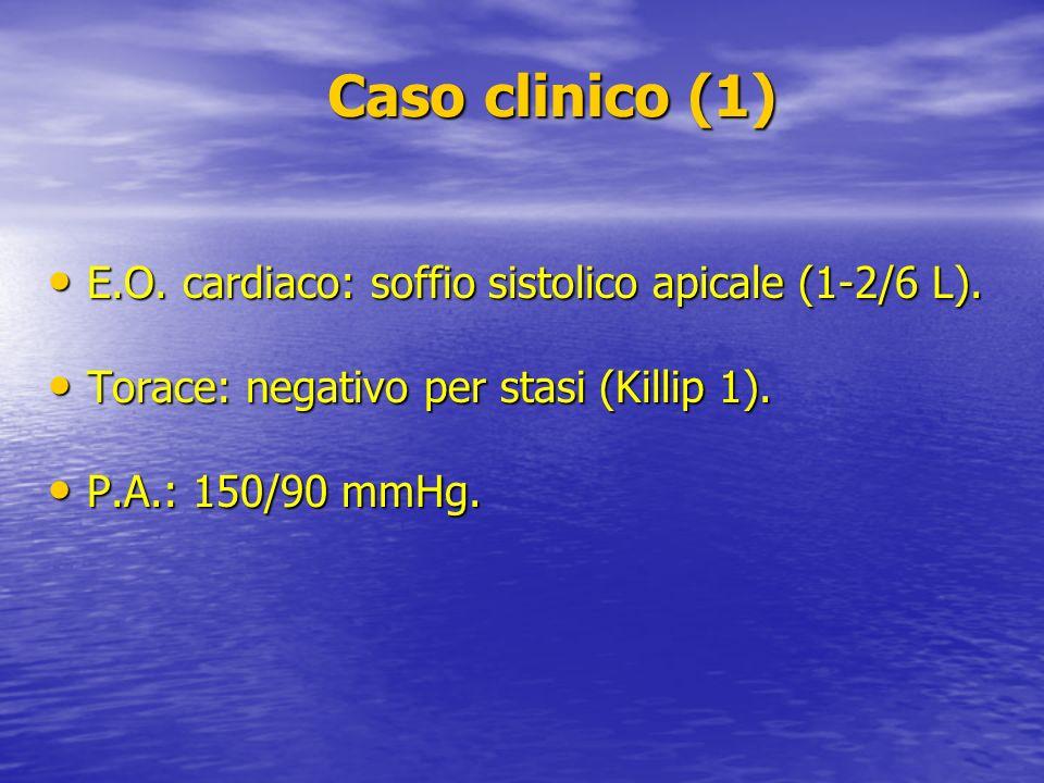 Caso clinico (1) Caso clinico (1) E.O. cardiaco: soffio sistolico apicale (1-2/6 L). E.O. cardiaco: soffio sistolico apicale (1-2/6 L). Torace: negati