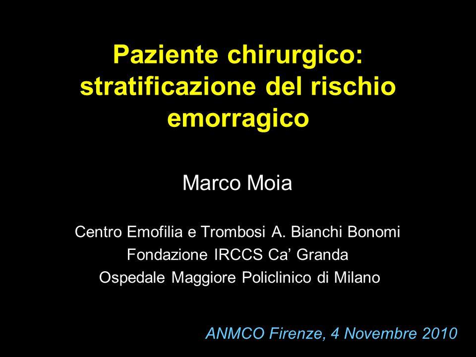 Paziente chirurgico: stratificazione del rischio emorragico Marco Moia Centro Emofilia e Trombosi A. Bianchi Bonomi Fondazione IRCCS Ca Granda Ospedal
