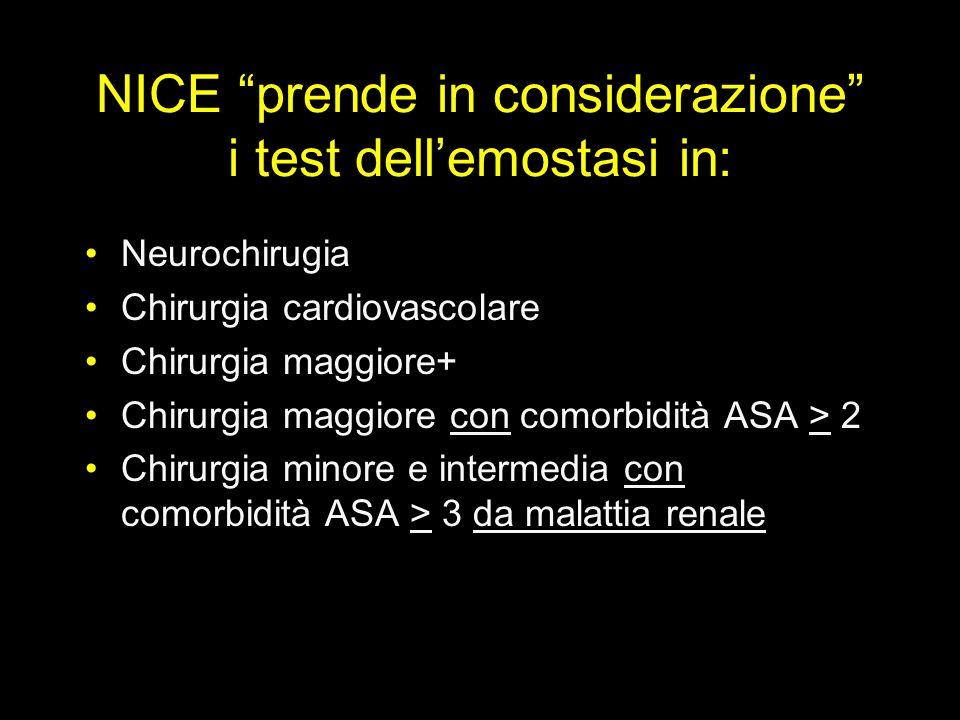 NICE prende in considerazione i test dellemostasi in: Neurochirugia Chirurgia cardiovascolare Chirurgia maggiore+ Chirurgia maggiore con comorbidità A