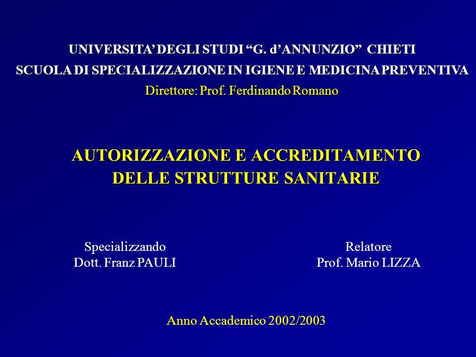 AUTORIZZAZIONE E ACCREDITAMENTO DELLE STRUTTURE SANITARIE Specializzando Dott. Franz PAULI UNIVERSITA DEGLI STUDI G. dANNUNZIO CHIETI SCUOLA DI SPECIA