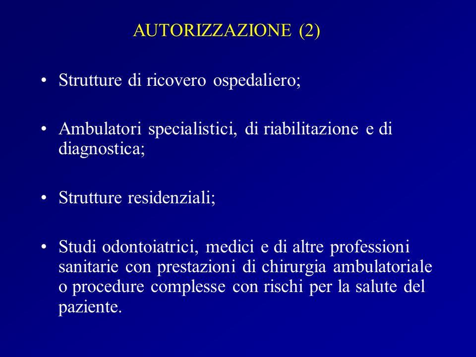 AUTORIZZAZIONE (2) Strutture di ricovero ospedaliero; Ambulatori specialistici, di riabilitazione e di diagnostica; Strutture residenziali; Studi odon
