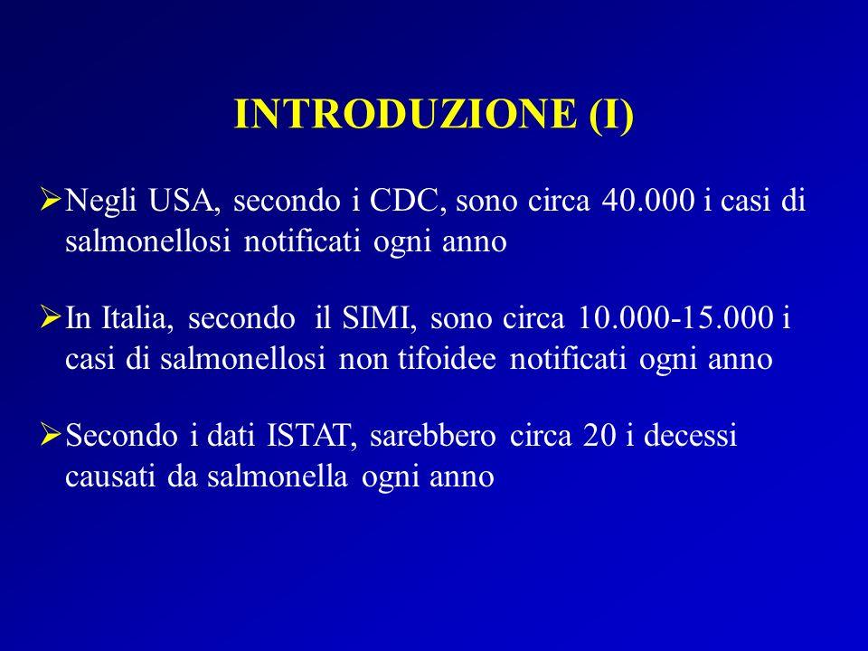INTRODUZIONE (I) Negli USA, secondo i CDC, sono circa 40.000 i casi di salmonellosi notificati ogni anno In Italia, secondo il SIMI, sono circa 10.000-15.000 i casi di salmonellosi non tifoidee notificati ogni anno Secondo i dati ISTAT, sarebbero circa 20 i decessi causati da salmonella ogni anno
