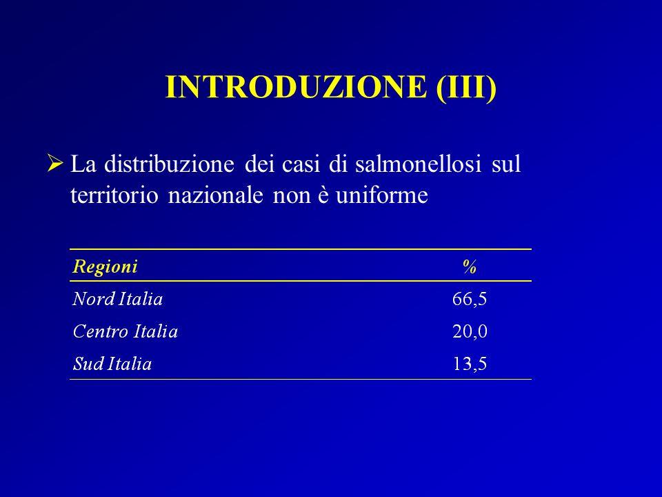 INTRODUZIONE (III) La distribuzione dei casi di salmonellosi sul territorio nazionale non è uniforme